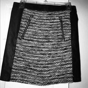 NWT H&M Wool Texture Leather Trim Mini Moto Skirt